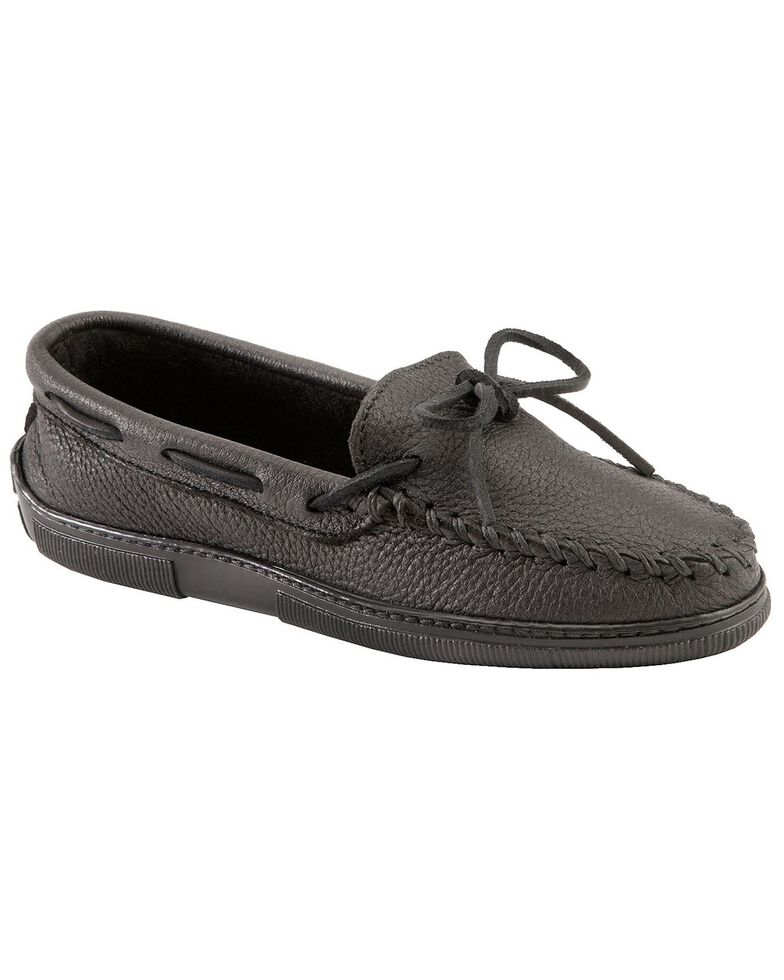 Women's Minnetonka Moosehide Classic Moccasins - Wide, Black, hi-res