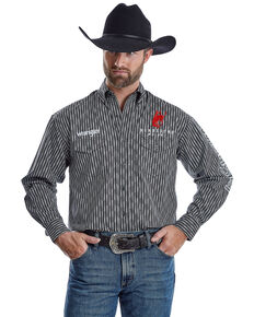 Wrangler Men's Pendleton Whiskey Logo Striped Long Sleeve Western Shirt , Black, hi-res