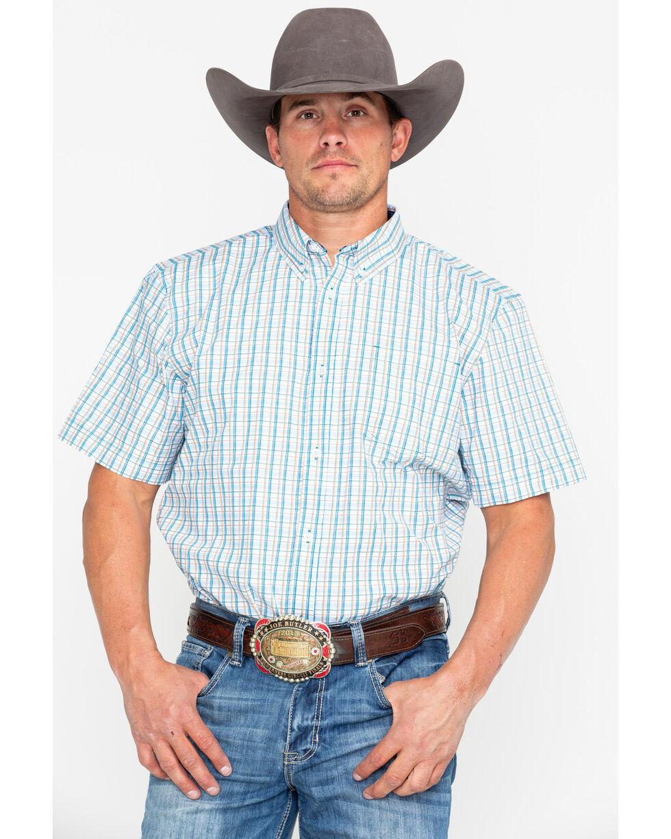 Cody Core Men's Galena Plaid Short Sleeve Western Shirt, Blue, hi-res