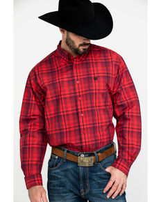 Cinch Men's Red Small Plaid Long Sleeve Western Shirt , Red, hi-res