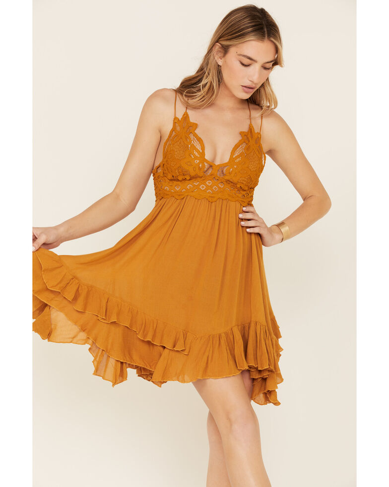 Free People Women's Adella Slip Dress, Dark Yellow, hi-res