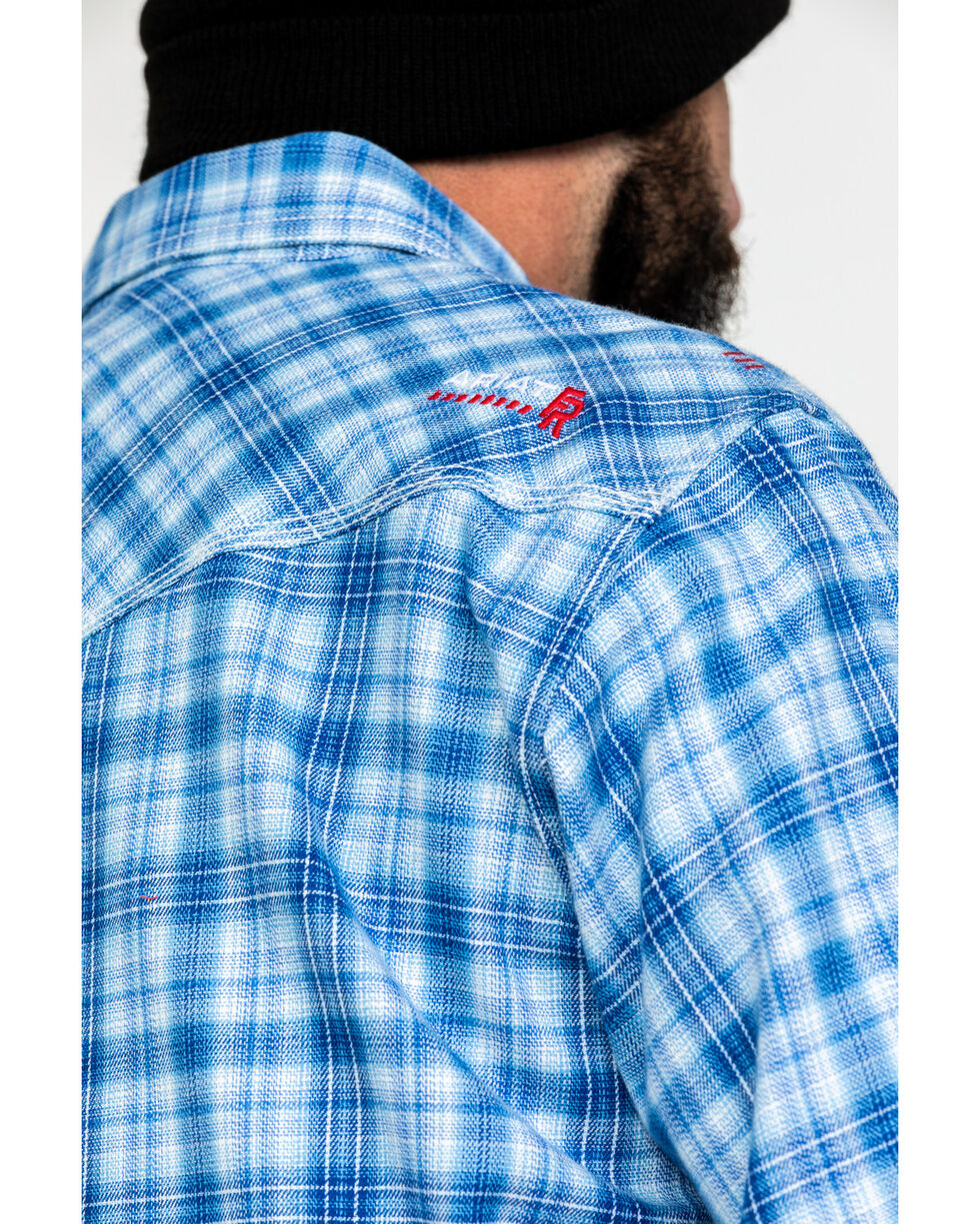 Ariat Men's FR Magnus Retro Plaid Long Sleeve Work Shirt , Blue, hi-res