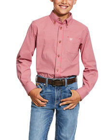 Ariat Boys' Grover Geo Print Long Sleeve Western Shirt , Red, hi-res
