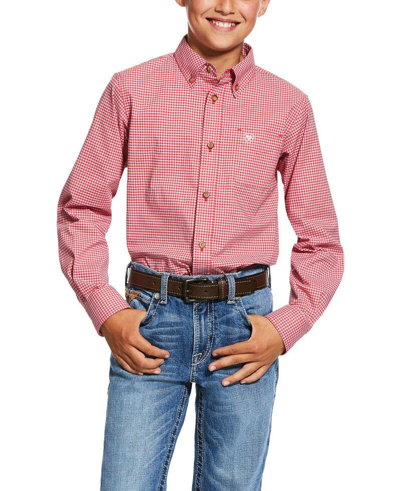 Ariat Boys' Grover Geo Print Long Sleeve Western Shirt , Red, hi-res