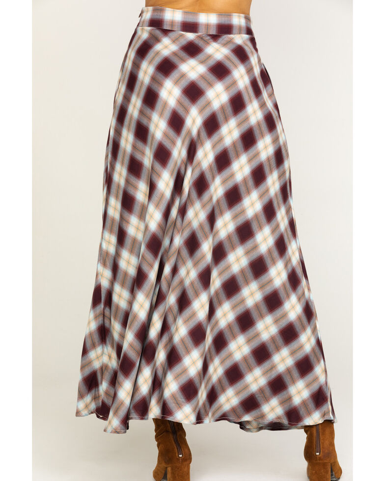 Stetson Women's Brown Plaid Maxi Skirt, Brown, hi-res