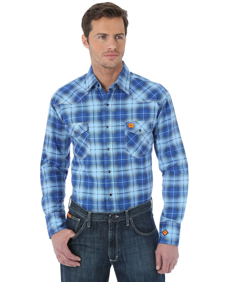 Wrangler Men's Flame Resistant Fashion Plaid Long Sleeve Work Shirt - Big & Tall , Blue, hi-res
