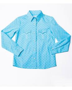 Panhandle Girls' White Label Horseshoe Print Long Sleeve Western Shirt , Light Blue, hi-res