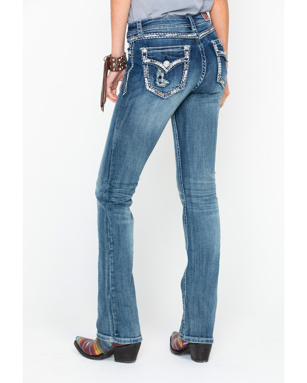 Grace In LA Women's Easy Boot Cut Jeans , Blue, hi-res