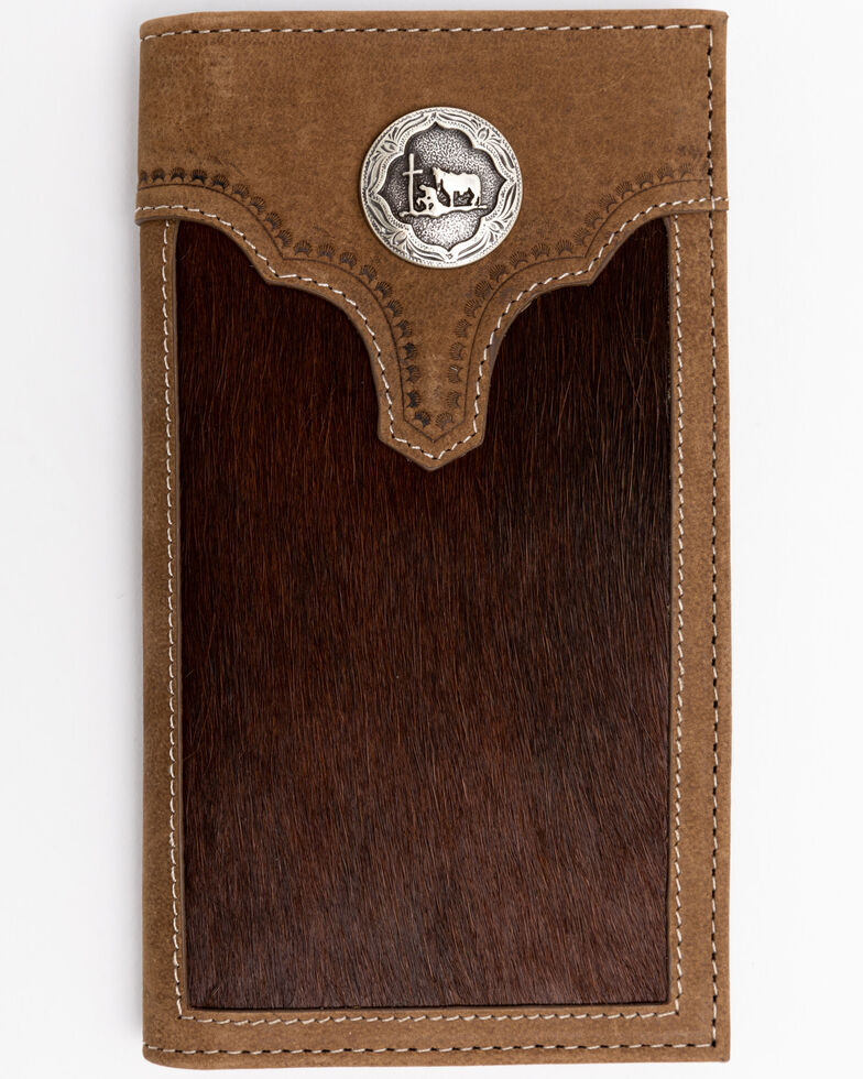 Cody James Men's Hair On Praying Cowboy Leather Checkbook Wallet, Brown, hi-res