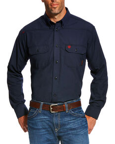 Ariat Men's Navy FR Featherlight Long Sleeve Work Shirt , Navy, hi-res