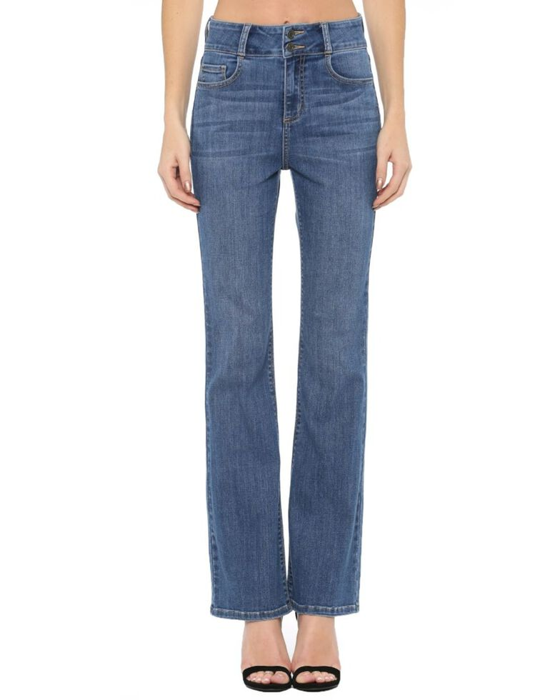 Cello Women's Medium Wash Button Kick Flare Jeans , Blue, hi-res