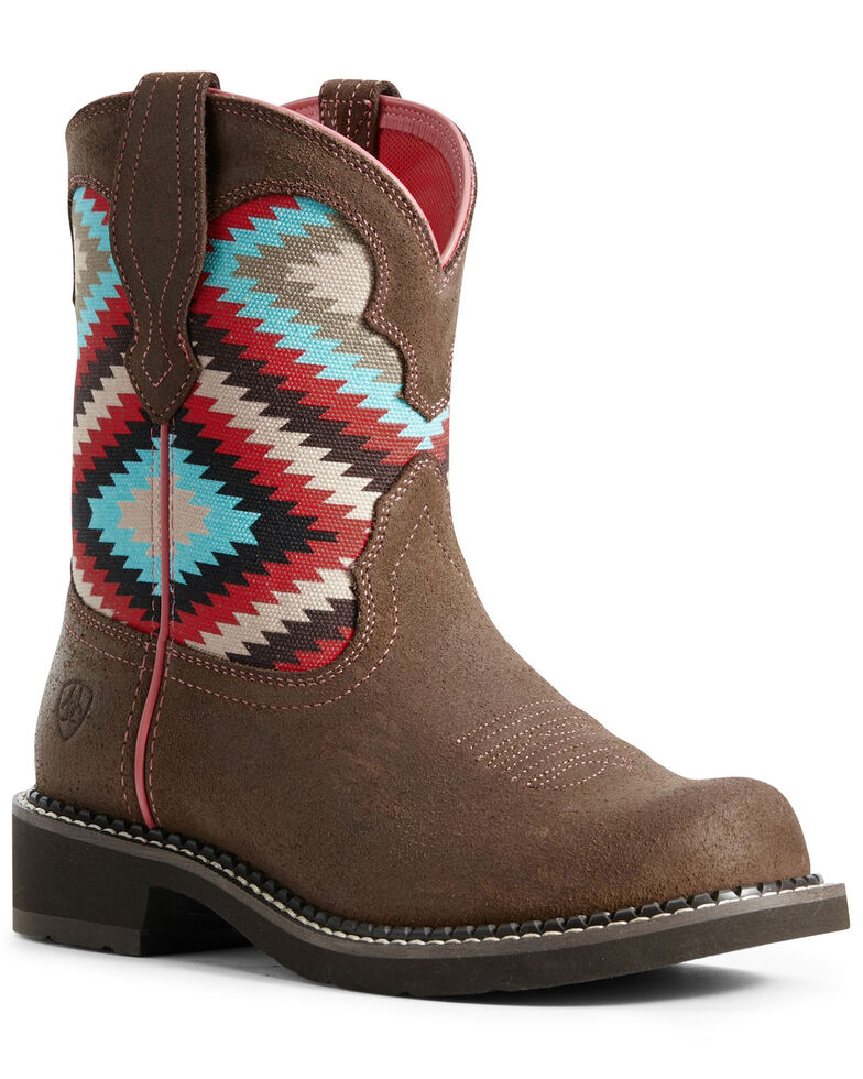 Ariat Women's Fatbaby Heritage Aztec Western Boots - Round Toe, Brown, hi-res