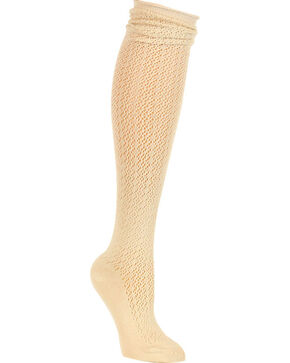 Shyanne Women's Knit Knee High Socks, Cream, hi-res