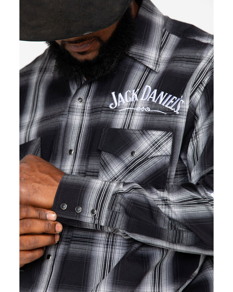 Jack Daniel's Men's Charcoal Textured Embroidered Plaid Long Sleeve Western Shirt  , Charcoal, hi-res