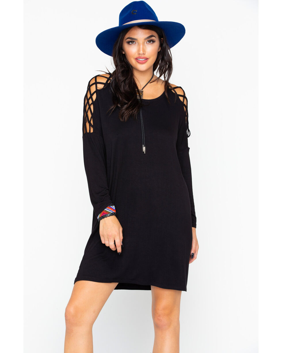 Panhandle Women's Solid Knit Criss Cross Inset Long Sleeve Dress , Black, hi-res