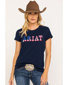 Ariat Women's R.E.A.L. Stars Tee, Navy, hi-res