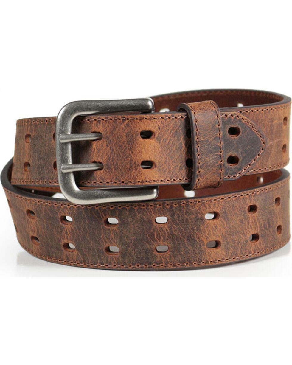 American Worker® Men's Crackle Leather Belt, Brown, hi-res