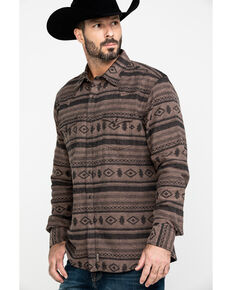 Wrangler Retro Men's Premium Aztec Print Long Sleeve Western Shirt , Black/brown, hi-res