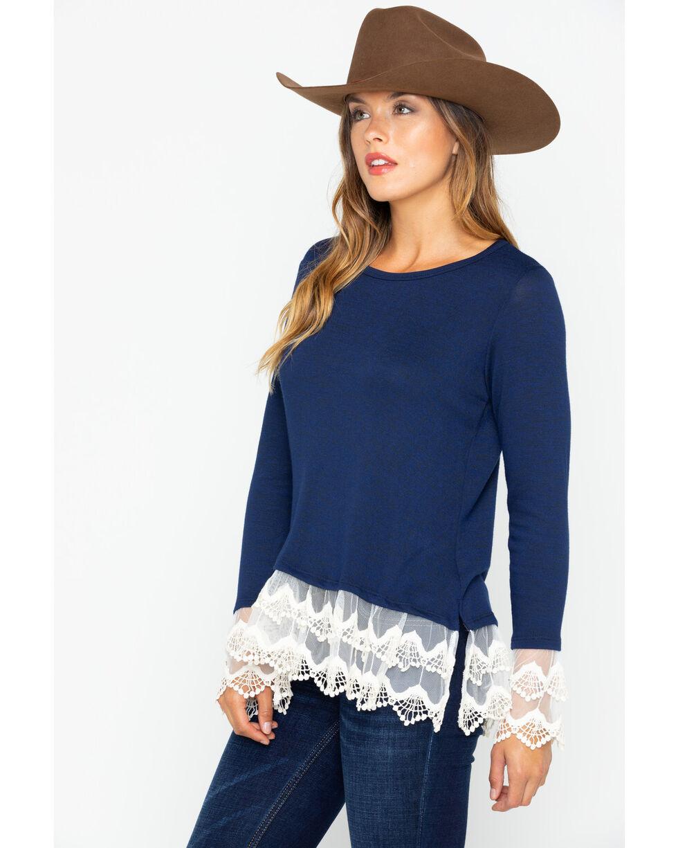 Wrangler Women's Lace Hem Fashion Western Long Sleeve Top , Navy, hi-res