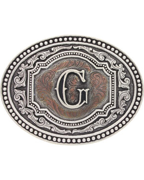 "Montana Silversmiths Men's Initial ""G"" Two-Tone Attitude Belt Buckle, Silver, hi-res"