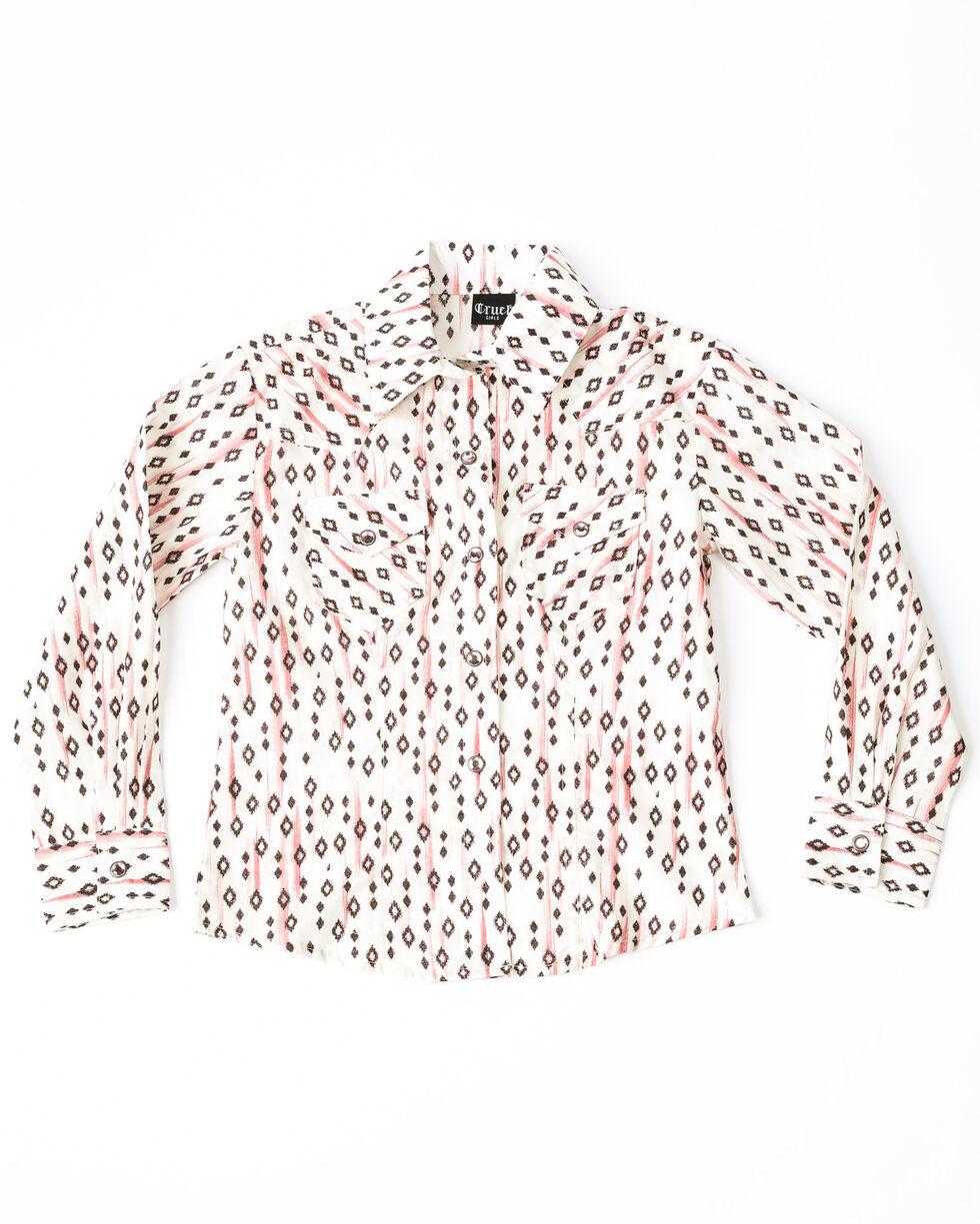 Cruel Girl Girls' Diamond Snap Long Sleeve Western Shirt , Pink, hi-res