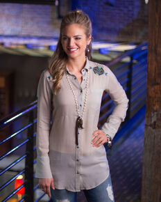 Ryan Michael Women's Embroidered Desert Tunic, Light Grey, hi-res