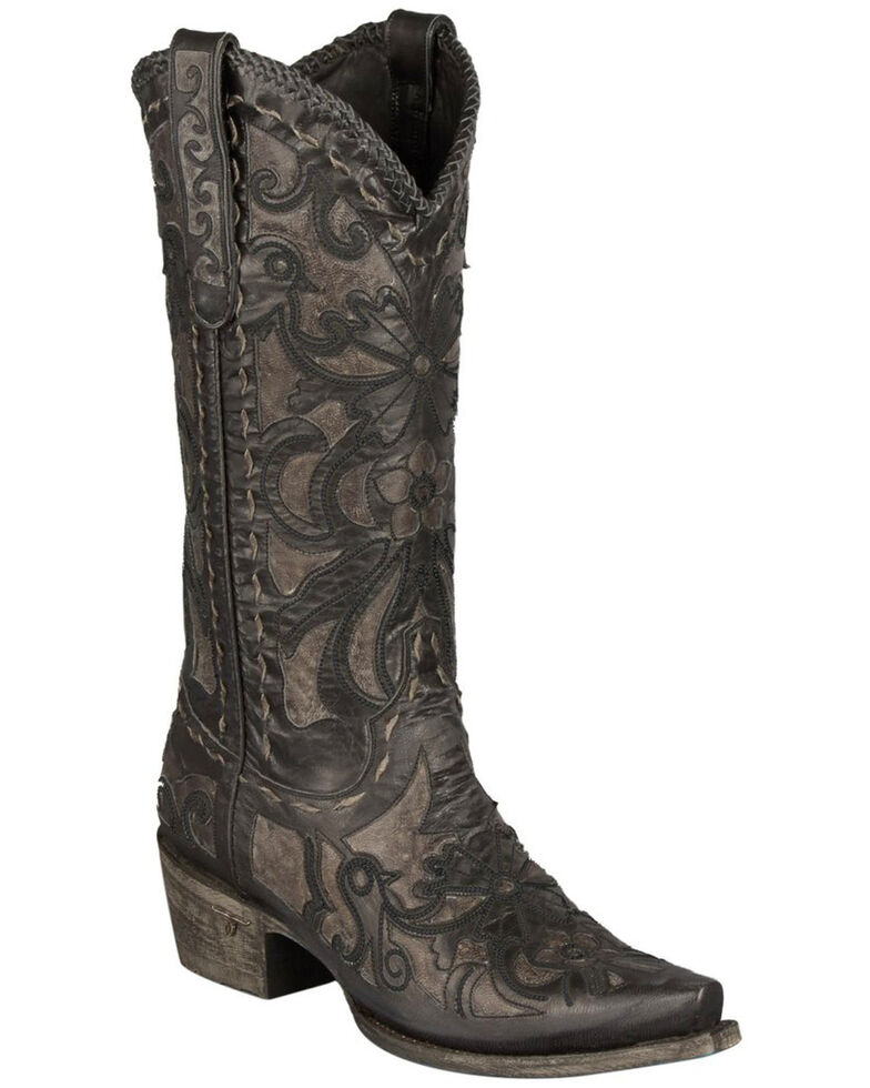 Lane Robin Cowgirl Boots - Snip Toe, Grey, hi-res
