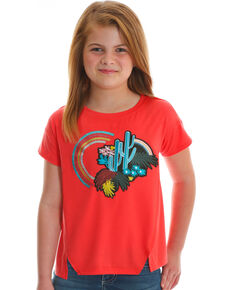 Wrangler Girls' Coral Cactus Rainbow Tee , Coral, hi-res