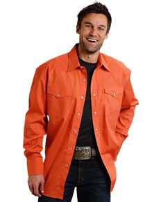 Roper Men's Orange Basic Solid Long Sleeve Snap Shirt, Orange, hi-res
