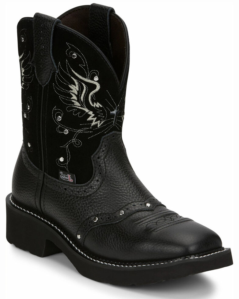 Justin Women's Mandra Black Western Boots - Square Toe, Black, hi-res