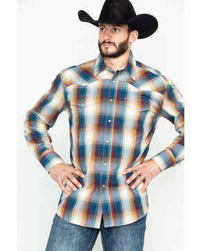 Roper Men's Large Plaid Snap Long Sleeve Western Shirt , Blue, hi-res