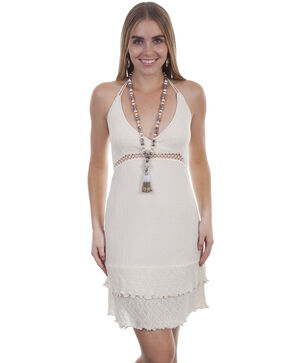 Cantina by Scully Women's Natural Tie Back Short Dress, Natural, hi-res