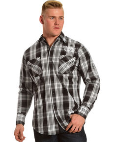 Jack Daniel's Men's Logo Plaid Long Sleeve Western Shirt, Black, hi-res