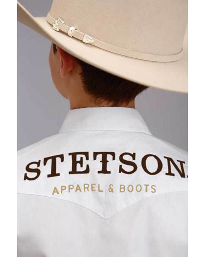 Stetson Boys' White Logo Wear Long Sleeve Western Shirt , White, hi-res