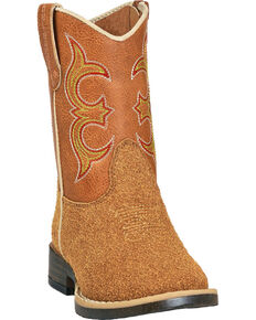 Double Barrel Toddler Boys' Rhett Rough Out Cowboy Boots - Square Toe, Natural, hi-res