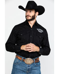 Jack Daniel's Men's Embroidered Logo Geo Print Long Sleeve Western Shirt , Black, hi-res
