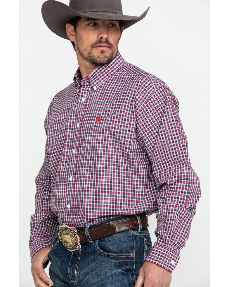 Cinch Men's Multi Small Plaid Long Sleeve Western Shirt, Multi, hi-res