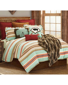 HiEnd Accents Turquoise Serape 3-Piece Comforter Set - Full , Turquoise, hi-res