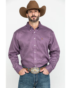 Cinch Men's Purple Small Geo Print Button Long Sleeve Western Shirt , Purple, hi-res