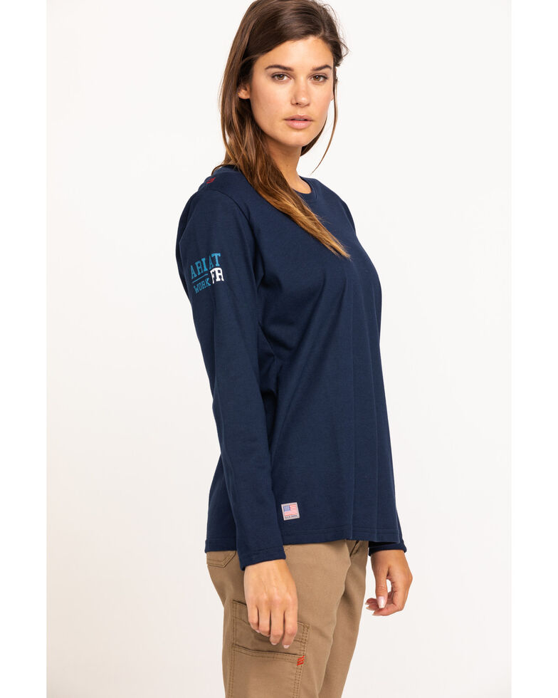 Ariat Women's Navy America Graphic FR T-Shirt , Navy, hi-res