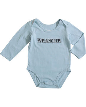 Wrangler Infant Boys' Blue Western Logo Onesie , Blue, hi-res