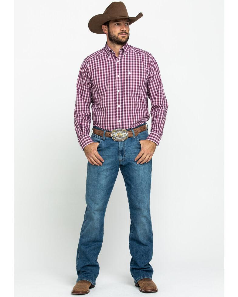 Ariat Men's Wahlman Small Plaid Wrinkle Free Long Sleeve Western Shirt , Pink, hi-res