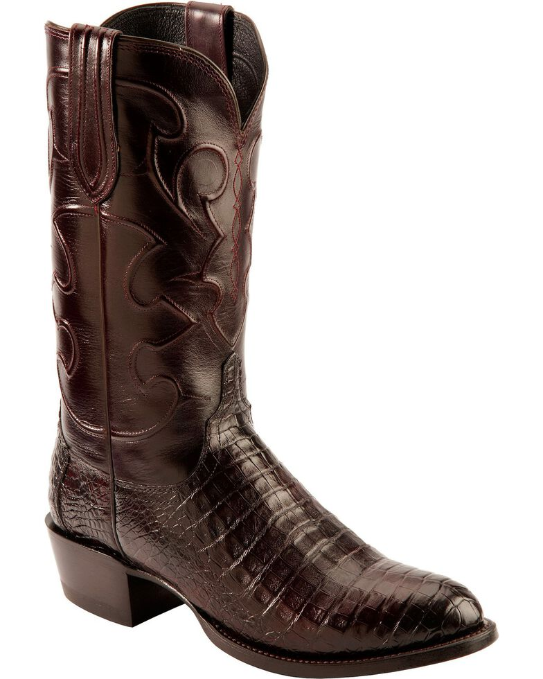 Lucchese Men's Charles Round Toe Crocodile Western Boots, Black Cherry, hi-res