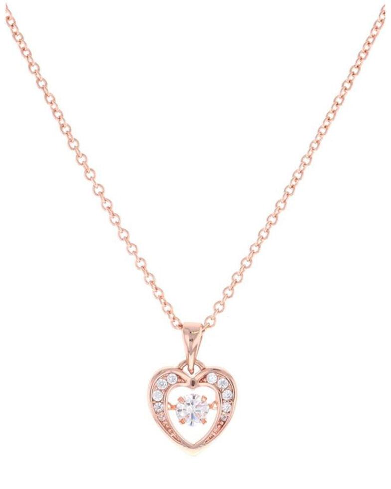Montana Silversmiths Women's Let's Dance A Little Rose Gold Heart Necklace, Silver, hi-res
