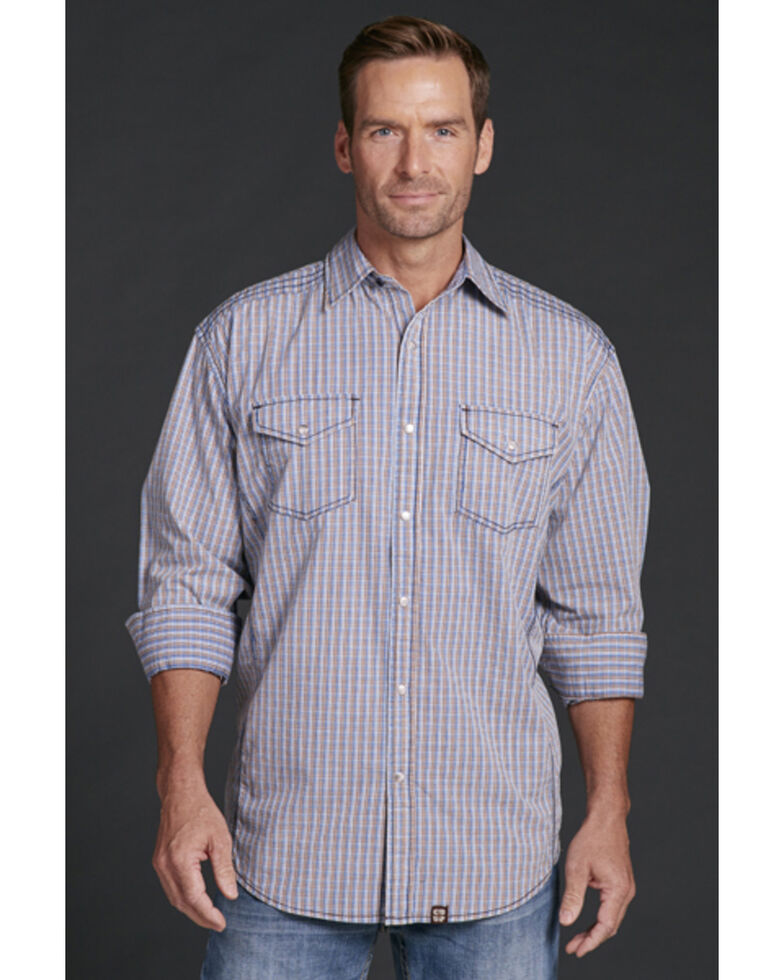 Cowboy Up Men's Blue Plaid Snap Long Sleeve Western Shirt, Blue, hi-res