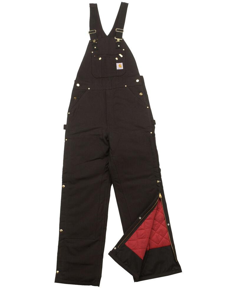 Carhartt Men's Duck Zip-To-Thigh Quilt Lined Bib Overall, Black, hi-res
