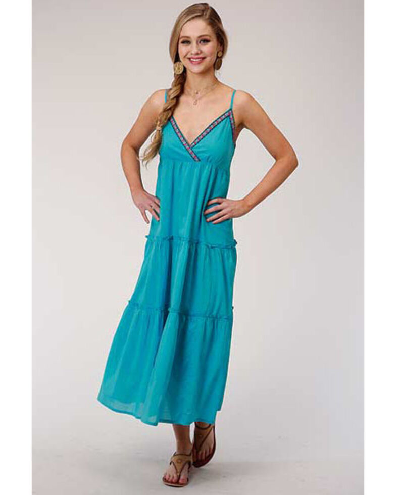 Roper Women's Turquoise Embroidered Maxi Dress, Turquoise, hi-res