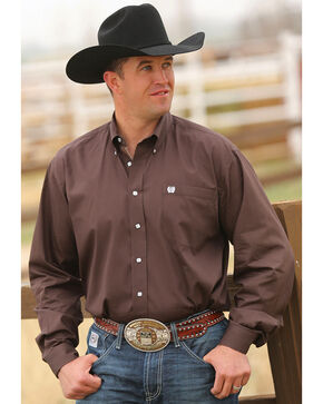 Cinch Men's Solid Brown Button-Down Western Shirt , Brown, hi-res