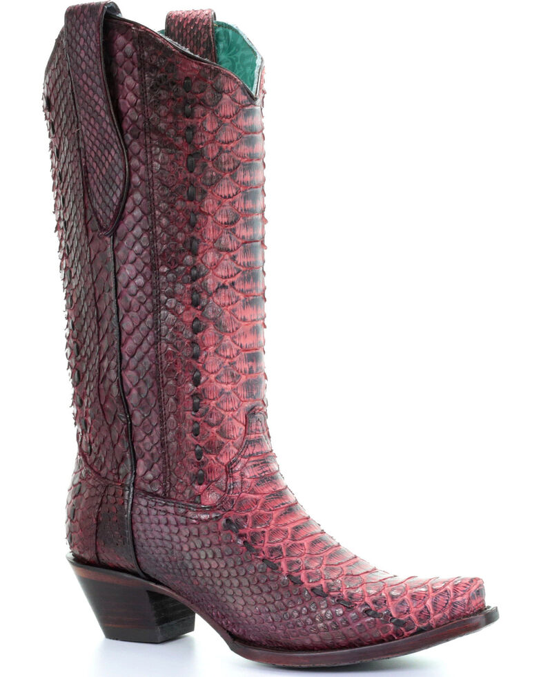 Corral Women's Red Full Python Woven Cowgirl Boots - Snip Toe, Red, hi-res