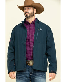 Ariat Men's Blue Logo 2.0 Softshell Zip-Up Jacket - Big , Blue, hi-res